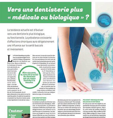 Article de Pascal Eppe : Vers une dentisterie plus « médicale ou biologique » ?