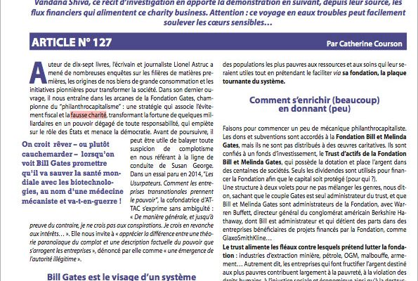 article neosante sur le philanthrocapitalisme